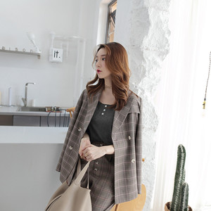 Wholesale Row Buckle Lattice Man s ladies Suit skirts Loose Coat Woman fashion business women clothing printed blazer designer clothes