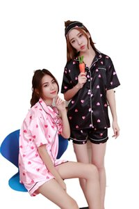 All Above Love Heart Print Tee & Shorts Pajama Set 2018 Multicolor Round Neck Short Sleeve New Arrival Women Pajama Set
