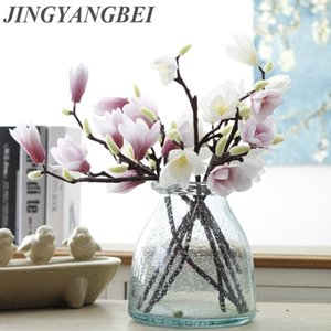 Wholesale 3D Silk Magnolia Branch Artificial Flowers High Quality Fake Flower for wedding decorate home decoration Party accory