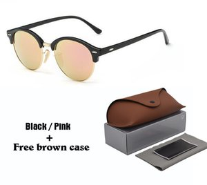High quality New Vintage Round sunglasses Women men Brand designer High-street Steampunk Glasses uv400 oculos de sol With Leather Case