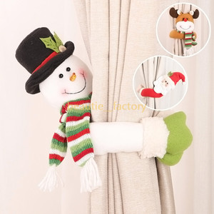 atar las cortinas al por mayor-Cute Christmas Curtain Tie Back Santa Claus Snowman Elk Hebilla Holder Drape Decor Xmas Window Decoration