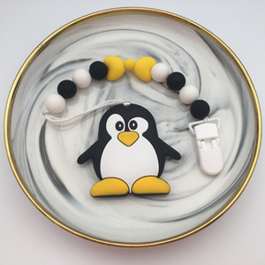Silicone Penguin panda Pacifier Clips Chain Holder Baby Chew Bead Leash with enviromental plastic Handmade Soother nipple strap