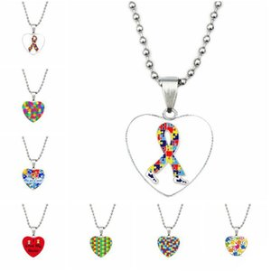 Wholesale puzzle pieces autism for sale - Group buy Autism Awareness Love Necklace Autism Mosaic Peach Heart Time Jewelry Necklace Gift Puzzle Piece Pendant Chain Necklace Colorful Pendant