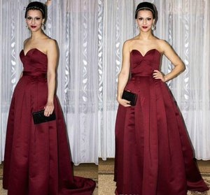 Arabic Dubai Burgundy A Line Evening Dress Elegant Pleats Backless Formal Holiday Wear Prom Party Gown Plus Size on Sale