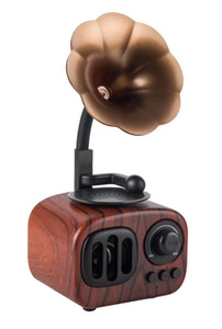 Wholesale Hot sale good quality Wooden Retro Phonograph Bluetooth Speaker Literary Subwoofer Mini Wireless Classical Super Bass Stereo Speakers