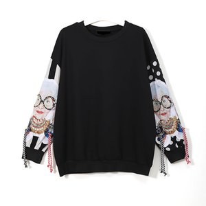 Wholesale Black Long Sleeve Sweatshirts Women Patchwork Print Tassel Pullover Harajuku Hoodie Pullover Women Clothes New