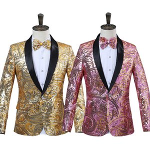 Wholesale 2018 Mens Pink Gold Flower Sequins Fancy Paillette Wedding Singer Stage Performance Suit Jacket Annual DJ Blazer With Bow Tie