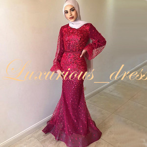 Wholesale Robe de soiree Dubai Elegant Long Mermaid Burgundy Muslim Evening Dress Long Sleeves Abaya Kaftan Prom Dresses 2019 Saudi Arabia