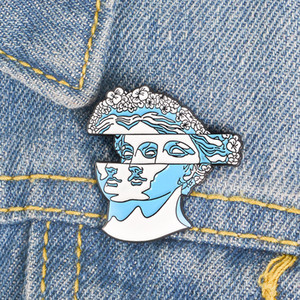 Wholesale Blue Flower Hair Statue Enamel pin Classic brooches Lapel pins for women girl men Badges Pins up