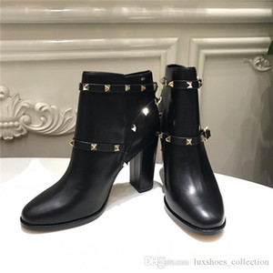 Wholesale Star with high heel ankle boots The latest Rivet series of classic cow leather bare boots womens autumn and winter boots