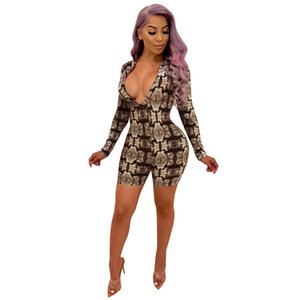 Wholesale Zmvkgsoa Sexy Snake Print Long Sleeve Bodysuit New Woman Tight Slim fit Short Jumpsuit Rompers Playsuits Y10333