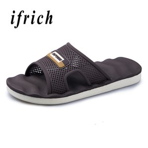 High Quality Men Bathroom Slippers Beach Slippers Summer Male Soft Hole Breathable Mens Brown Black Hotel Room Shoe Men