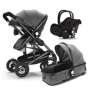 Baby stroller 2020 New Arrival 3 in 1 newborn baby carriage High Landscape stroller four seasons absorption