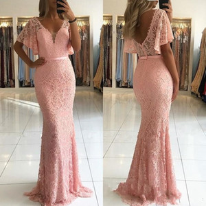 Wholesale 2019 Blush Pink Mermaid Evening Dresses Wear Deep V Neck Short Sleeves Full Lace Pearls Open Back Sweep Train Plus Size Prom Gowns