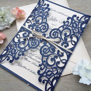Elegant Wedding Invitation Card With Envelop Navy Blue Laser Cutting Wedding Invites 50pcs lot Y19061704