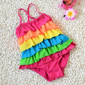Wholesale Baby girls rainbow swimwear fashion sweet summer kids girls candy colors cute lotus leaf swimsuit fit for T A