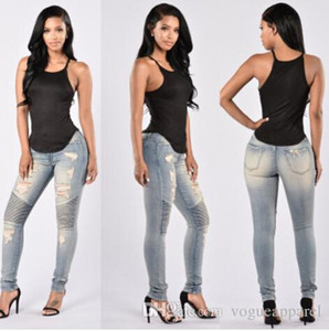 Ripped Sexy Skinny Jeans Womens High Waisted Slim Fit Denim Pants Slim Denim Straight Biker Skinny Ripped Pencil Pants