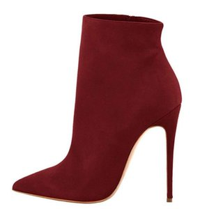 fashion Suede Sock Boots Sexy Pointed Toe High Heel Ankle Boots Formal Ladies Winter Dress Shoes