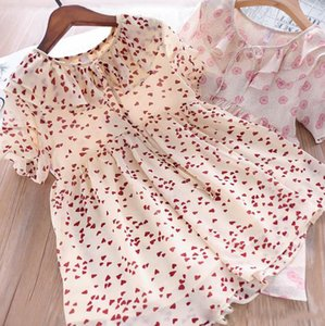 Wholesale Girls love heart chiffon princess dress kids polka dots floral printed dress children lace up Bows tie falbala lapel short sleeve dress