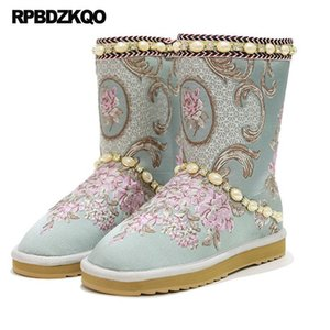 Wholesale Snow Rhinestone Warm Embroidered Real Fur Embroidery Pearl Boots Australian Designer Shoes Women Luxury Nice Flower Handmade