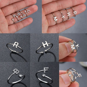 Wholesale Personalized Stacking A Z Initial Ring Bohemian Engraved Letter Rings for Women Gold Color Heart Rings Jewelry Drop Shipping