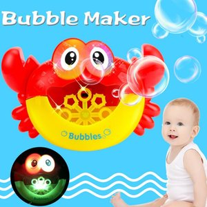 Wholesale Baby Bubble Maker Crab Bath Toy Plastic Electric Cartoon Light Music Funny Washing Toy Bubble water Machine for Kid