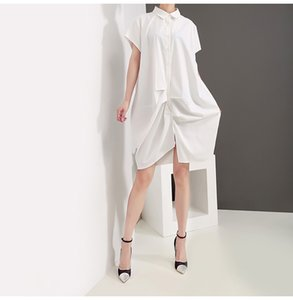 Wholesale New Women Summer Solid White Shirt Dress Draped Design Knee Length Female Stylish Cute Casual Midi Dress Robe Femme F618