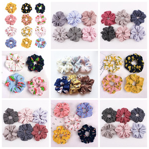 Wholesale Korea Velvet satin Hair Scrunchie Elastic Hair Bands Solid Color Women Girls Headwear Ponytail Holder floral zebra fruit Hair Accessories