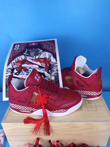 High Grade Mens 4s IV Basketball Shoes Authentic Wishing You Happiness Chinese Red Sport Shoes With Wood Box Shipping