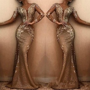 Wholesale 2019 New Brown Mermaid Long Evening Dresses V Neck Long Sleeves Sequins Lace Applique Sweep Train Formal Party Prom Gowns Dresses BC0857