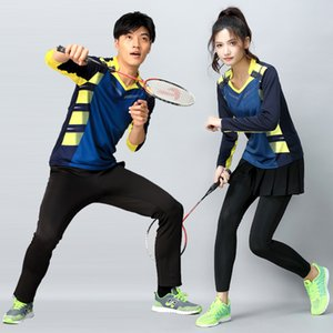 Wholesale Autumn and winter long sleeved badminton wear men and women skirt pants suit quick drying breathable large size tennis clothes