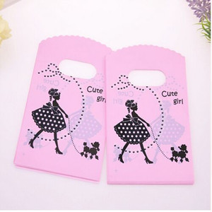 Wholesale Hot Sale New cm Pink Mini Plastic Shopping Bags With Cute Girl Birthday Gift Packaging Bags