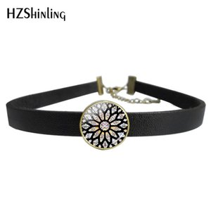 Wholesale 2019 New Leather Choker Necklace Bracelet Memorial Classic Notre Dame Cathedral Rose Window Glass Jewelry