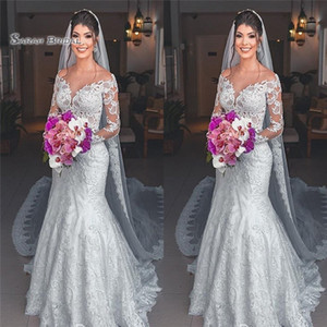 2019 Mermaid Off Shoulder Wedding Dresses Long Sleeves and Veil Bridal Gowns Beach Wedding Dress Custom Made on Sale