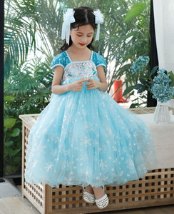 halloween-kostüm brautjungfernkleid großhandel-Karneval Kostüm für Big Girl Snowflake Kleid Weihnachten Kid Elza Stickerei Paillette Frock Kinder Bridesmaid Ceremony Prom Prinzessin Tunika