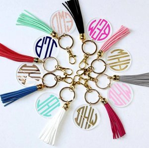 4cm Blank Disc with 8cm Suede Tassel Vinyl Keyring Lowest Multi Color Available Gold Silver Monogrammed Clear Acrylic Disc Tassel Keychain