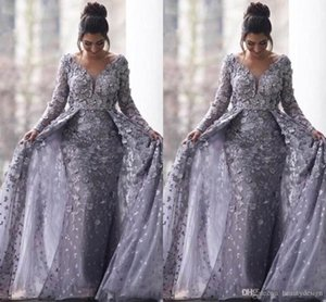 2020 Modern Saudi Arabic Gray Muslim Evening Dresses Mermaid V-neck Long Sleeves Tulle Lace Islamic Dubai Long Formal Evening Gown BC312 on Sale
