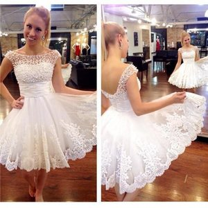 White Lace Short Homecoming Dresses Jewel Neck Capped Tulle Mini Graduation Dresses Cheap Prom Party Dresses on Sale
