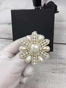 Wholesale fashion luxury women's female's ladies stamped cross pearls crystals hollow out brooches pins with box free shipping