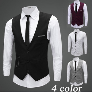 Wholesale Black Gray Groom Vests with Chain Groom Vest Slim Fit Mens Suit Vest Prom Wedding Waistcoat Fress Shipping