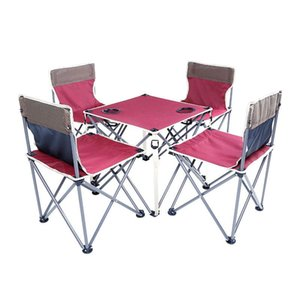 Wholesale outdoors furniture resale online - Garden Sets Chair With Table Iron Oxford Fast Shipping Green Red Thickening Folding Backpack Outdoor Camping Furniture Set