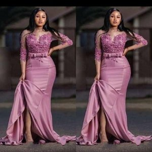 Dusty Rose 2020 New Saudi Arabic Mermaid Evening Mother of the bride Dress Satin Applique 3 4 Sleeves Party Prom pageant Dress Plus size on Sale