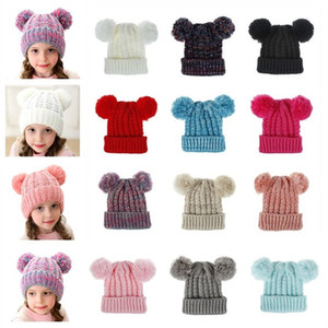 Wholesale Children s autumn winter thermal hats boys and girls ages to knitted wool hats styles of outdoor sports ski hats T3I5191