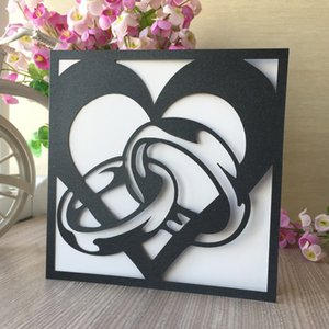 50PCS  lot Heart And Ring Hollow Laser Cut Modern City Style Wedding Invitation Cards Valentine's Day Gift Cards Supplies