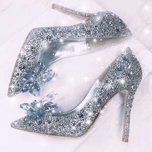 Wholesale Silve Sparkly Crystals Bridal Wedding Dress Shoes For Bride Luxury Designer Heels Cinderella Pumps Poined Toe Rhinestones Party Prom Shoes