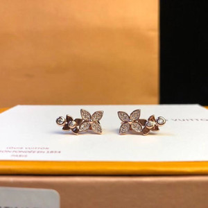 Wholesale Luxury Star Blossom Brand k Gold Plated Full Crystal Double Four Leaf Clover Flower Stud Earrings For Women Jewelry