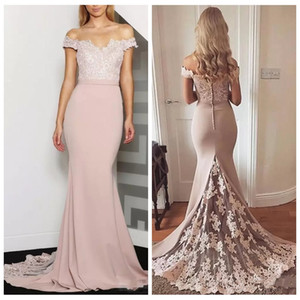 Wholesale 2019 Off Shoulder Slim Mermaid Bridesmaids Dresses Lace Appliques Plus Size Formal Maid of Honor Gowns Custom Online Vestidos De Bridesmaids
