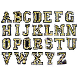 Wholesale Yellow Gold Rhinestone Alphabet Letters Silver Edge Sew Iron On Patches Embroidered Badges For Clothes DIY Appliques Craft Decoration