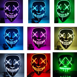 Wholesale Halloween El Wire Mask Cold Light Line Ghost Horror Mask LED Party Cosplay Masquerade Street Dance Halloween Rave Toy Accessories LJJA2812