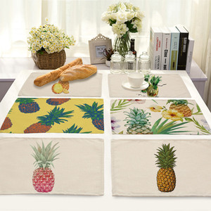 Wholesale New Pineapple Pattern Mats Heat Insulation Art Western Food Mat Home Kitchen Decor Table Pads
